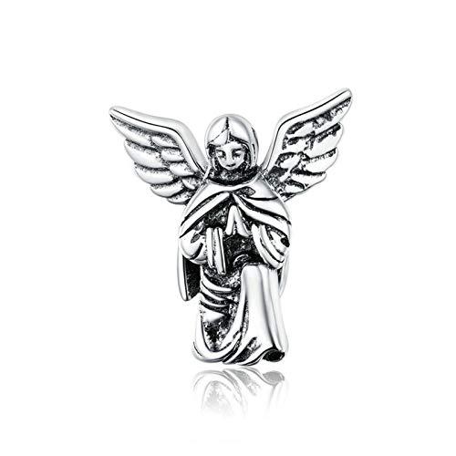 HMMJ Charms Dangle Beads,Vintage S925 Sterling Silver Prayer Angel DIY Handmade Pendant for Pandora Troll Chamilia Charm Bracelet Necklaces