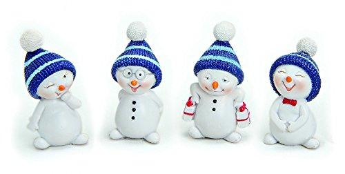 4x Deko Figur Schneemann Im Set Je 5 cm Klein, Polystein Weiß Blau, Dekofigur Kranzdeko Winterdeko Weihnachten Schneemänner Winterfiguren