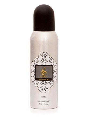 SANGADO Fragrances Sangado unbesiegbar parfüm-deodorant-spray für herren luxuriös duftend aluminium-frei ohne komprimierte gase feine französische essenzen konzentriert langanhaltend holziger duft 150ml