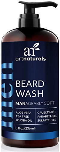 artnaturals Natural Beard Shampoo Wash - (8 Fl Oz / 236ml) - Infused with Aloe Vera, Tea Tree and Jojoba Oil - Sulfate Free