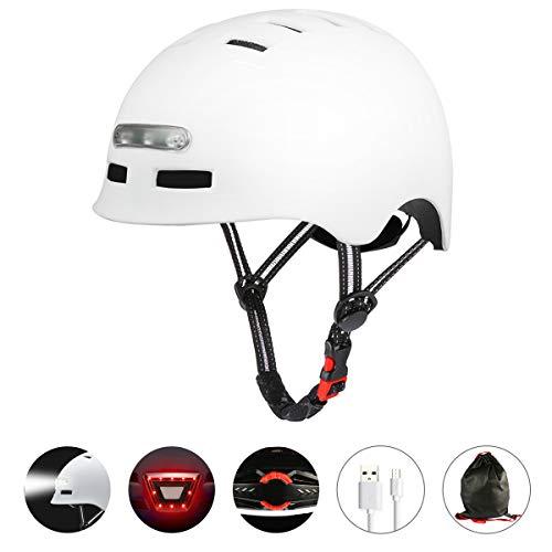 Fahrradhelm mit Integriertem LED-Scheinwerfer und Rücklicht Leichter Fahrradhelm für Erwachsene Männer und Frauen