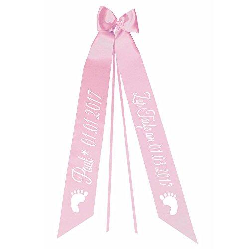 Elefantasie Taufschleife mit Taufdatum Namen und Geburtsdatum personalisiert Modell Füße rosa