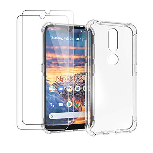 HYMY Hülle für Nokia 4.2 + 2 x Schutzfolie Panzerglas - Transparent Erdbebenresistenz Schutzhülle TPU Handytasche Tasche Verstärkung an Vier Ecken Hülle für Nokia 4.2 2019 (5.71
