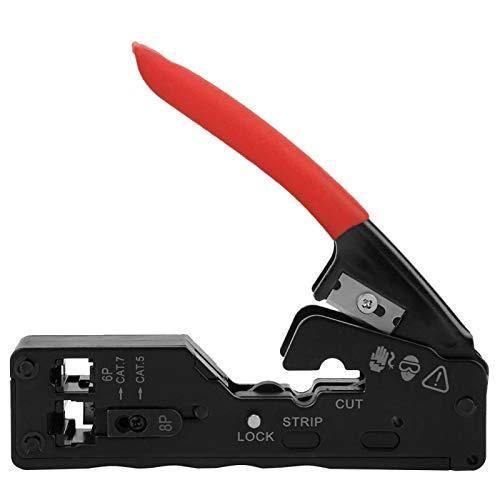 Engarzadora de red, pelacables, engarzadora de alambre de red, cortador pelacables, herramienta de engarce de cabeza de cristal para CAT-5 CAT-6 CAT-7(rojo)