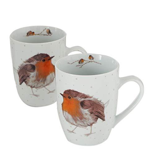 BB 2 STK Kaffeetassen 330ml ROTKELCHEN Robin Tassen Porzellan Glühweintassen Kaffeebecher Tasse Waldtiere Vögel Jumbobecher Vintage Emaille