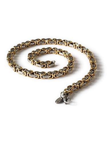 Fly Style 6 mm Königskette oder Armband aus Edelstahl in 4 Farben | 18-90 cm, Farbwahl:Silber/schwarz, Längen:60 cm