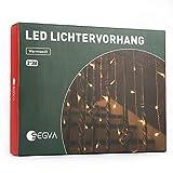 SEGVA Cortina de luz LED, 3 m x 3 m, 300 luces LED, para salón, jardín, terraza, color blanco cálido