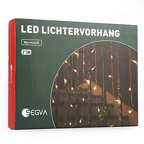 SEGVA LED Lichtvorhang 3m x 3m, 300er LED Lichterkette für Wohnzimmer, Garten, Terasse - Warmweiß