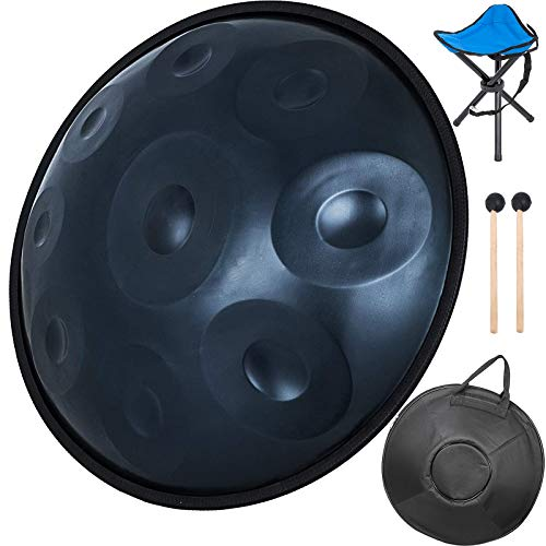 Happybuy Handpan In D Minor 9 Notes 22 inches Steel Hand Drum with Soft Hand Pan Bag Hand Pan Steel Drum 2 (22' (56cm) Deep Blue (d Minor) 9 Notes (d3 A Bb C D E F G A)