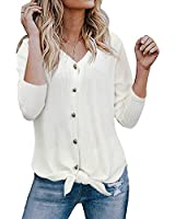 RUUHEE Women Button Waffle Knit Long Sleeve V Neck Tie Knot T Shirt Tops Blouse (M(US Size 6-8),White)