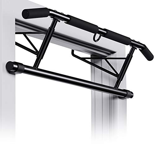 WINNOW Pull up Bar Clamp Doorway No Screws Multi Home Gym Chin up bar Foldable Portable Indoor Thick, Heavy Duty Hook Bar, Padded Handles, No drilling/No damage for Door Frame, Free Installation
