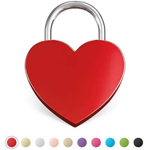 LIEBESSCHLOSS-FACTORY Herz-Schloss Rot ohne Gravur und Schlüssel, gratis Geschenkbox uvm. Jetzt graviertes Liebes-Schloss in Herzform gestalten!