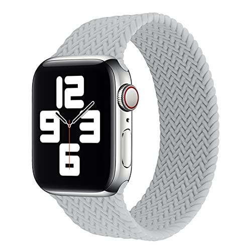 Voshion Solo Loop de silicona para Apple Watch Band 44mm 40mm 38mm 42mm Textura trenzada elástica Correa de silicona iWatch Series 3 4 5 6 se (42mm o 44mm, gris claro)