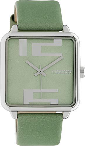 Oozoo Damenuhr Quadratisch mit Lederband 35 x 35 MM Silber/Grün C10362