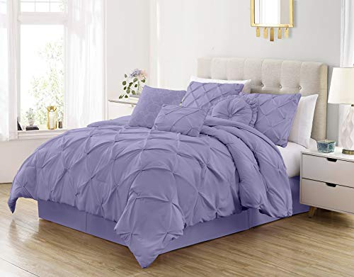 Sydney 7-Piece Pinch Pleat Pintuck Bedding Comforter Set (Queen, Lavender)