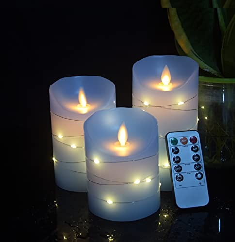 Blue flameless Candle with Embedded Light String, 3 LED Candles, 10-Key Remote Control, 24-Hour Timer Function, Flashing, Solid Wax, Battery Powered. (Sky Blue)