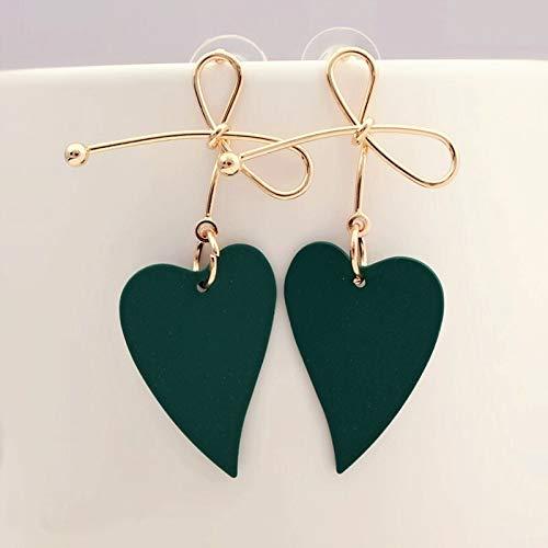 Xpwoz Pendiente de Gota del Color del Oro del corazón geométrica for el Pendiente del Verde Amarillo Rojo de Las Mujeres de la Vendimia Brincos (Color : Green)