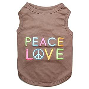 Parisian Pet Peace Love Dog T-Shirt, Large