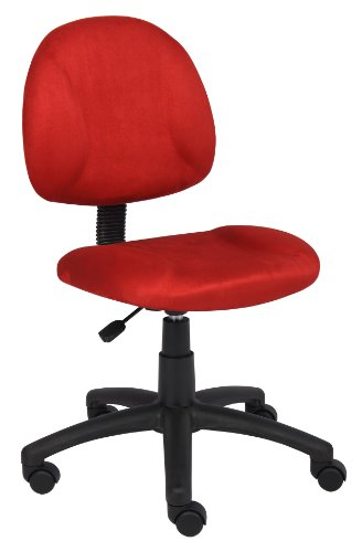 Price comparison product image Boss Office Products Perfect Posture Delux Microfiber Task Chair without Arms in Red