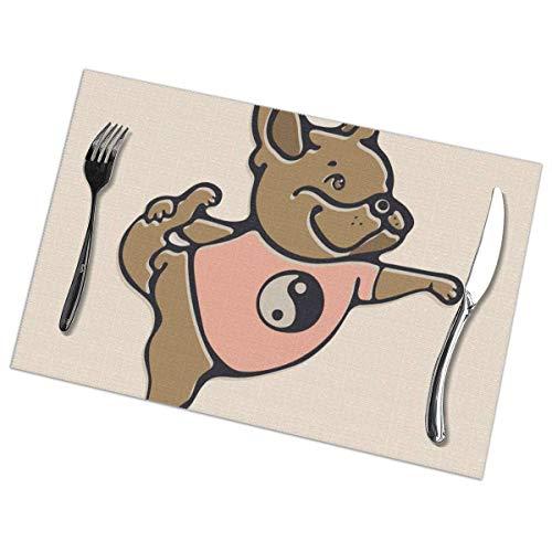 Vinkde Bulldog francés Haciendo Yoga con 488 tapetes de Cocina Resistentes al Calor para cenas fáciles de Limpiar Juego de 6 de 12 x 18 pulgad