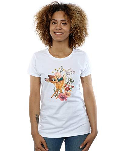Disney Damen Bambi Meadow T-Shirt Weiß Large