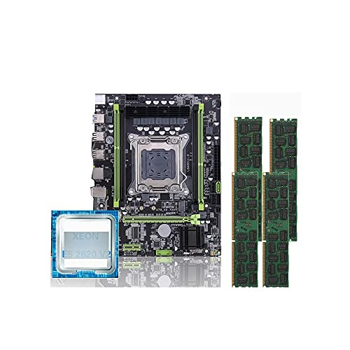 RTYU Fit for Placa Base Kllisre X79 LGA 2011 Mini-ATX Combos E5 2620 V2 CPU 4 Piezas X 4 GB = 16 GB DDR3 1333 MHz Memoria ECC