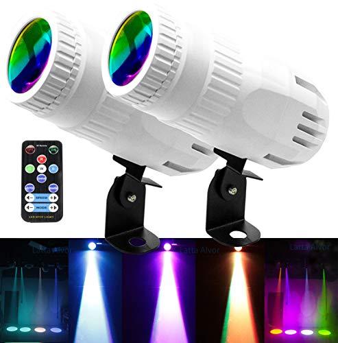 LED-Effektstrahler Ministrahllicht Vierfarbige Projektorleuchten LED-Projektorlampe Wasserdichte Landschaftsbeleuchtung Innenrotationslichtprojektor Einstellbarer Deckenstrahler für KTV Party Weiß