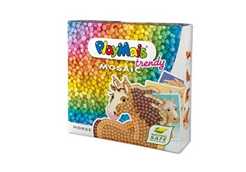 PlayMais TRENDY Mosaic Horse Kreativ-Set zum Basteln für Kinder ab 6 Jahren | Über 3.000 Stück & 6 Mosaik Klebebilder mit Pferdemotiven | Fördert Kreativität & Feinmotorik | Natürliches...