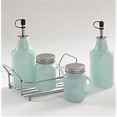 Vintage Style Mason 5 piece Painted Glass Condiment Set - Mint Green