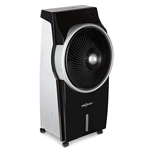 oneConcept Kingcool - Summer Vibe, Raffreddatore d'aria, Ventilatore, Ionizzatore, 3 Modalitá Operative, Ecologico, 95 Watt, Telecomando, Timer, Colore Argento/Nero