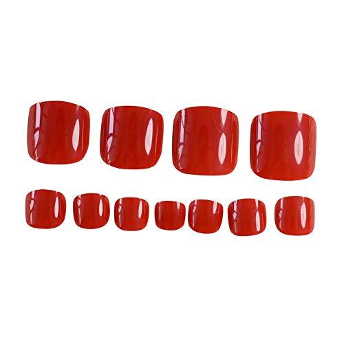 24pcs French Red Press On Fake Toenails Short False Toenails Square Full Toenail Tips Feet Nails Decals