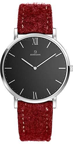 Herren Uhr Bauhaus-Stil Schweizer Uhrwerk Saphirglas schwarzes Ziffernblatt Gehäusedurchmesser 41mm Exklusives Lodenarmband aus 100% Merinowolle Andreas JEDERMANN