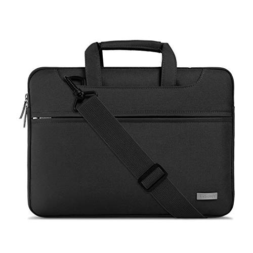 MOSISO Laptop Shoulder Bag Compatible with MacBook Pro/Air 13 inch, 13-13.3 inch Notebook Computer, Polyester Sleeve with Back Trolley Belt, Black