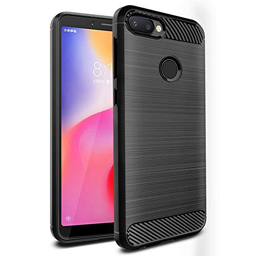 Ferilinso Funda para Xiaomi Redmi 6, Silicona Flexible Rugged Armor Híbrido Defensor Shockproof Funda Protectora diseño de Fibra de Carbono de la Cubierta paraXiaomi Redmi 6 (Negro)