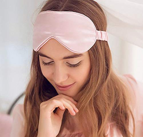 100% Mulberry Silk Sleep Eye Mask for Women 19momme pure natural soft gentle anti ageing skin hair care (Pink)