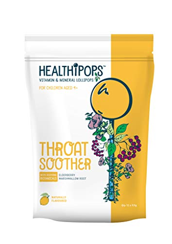 Healthipops Vitamin & Mineral Lollipops Throat Soother with Added Soothing botanicals; Elderberry & Marshmallow Root | Aged 4+ | 12 Lollipops