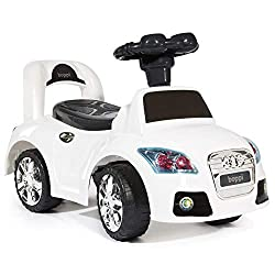 2 IN 1 RIDE-ON & PUSH ALONG MODES – All cars can be used as a ride-on or as a push along, with a balance block attachment for peace of mind in push along mode. STURDY MOLDED SHELL – Polyurethane (hard plastic) racing mold shell with wide base wheels,...