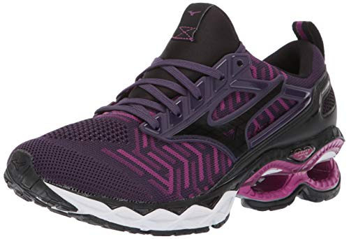 Mizuno Women's Wave Creation 20 Knit Running Shoe, Plum-Black, 8.5 B US
