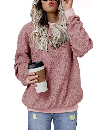 kenoce Sudadera sin Capucha de Forro Polar de Manga Larga para Mujer Talla Grande Pullover Cálido Sweatshirt Hoodie con Bolsillos H-Rosa M