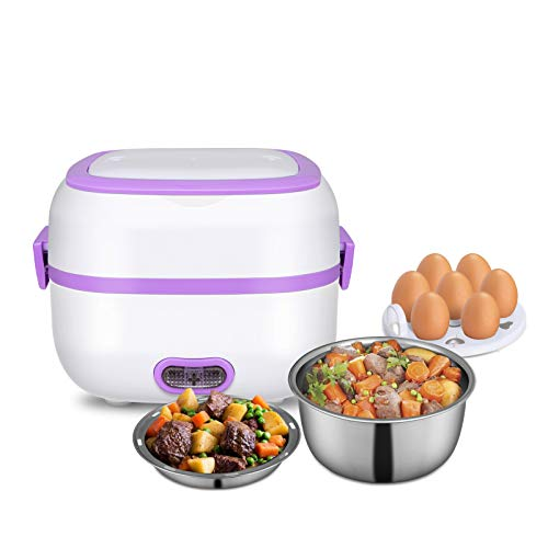 Electric Lunch Box, 3 In 1 Food Heater/Cooker/Steamer with Stainless Steel Bowls, Egg Steaming Tray, Spoon, Measuring Cup for Office, School, Home, Travel