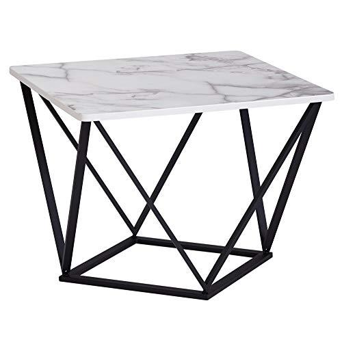 FineBuy Design Couchtisch in Marmor Optik Weiß 60 x 60 cm | Wohnzimmertisch Metall-Gestell Schwarz | Großer Beistelltisch Quadratisch