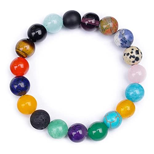 QXPDD Pulseras de cuentas de cristal multicolor de 10 mm de piedras naturales pulsera elástica para hombres y mujeres regalo