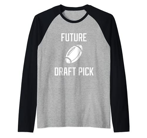 Futuro Draft Pick Profesional Atleta de fútbol americano Camiseta Manga Raglan