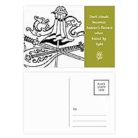 中国の傘を描いてドラゴンソード 詩のポストカードセットサンクスカード郵送側20個