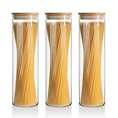 Comsaf 1400ml Bocaux de Conservation Verre, Hermétique Bocal en Borosilicate avec Bambou Couvercle et Silicone Rondelle, Lot de 3 Alimentaires Pots pour Biscuits, Pasta, Collations, Céréales