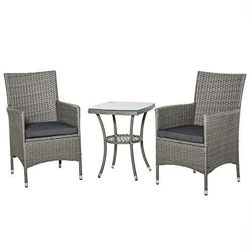 sedie da giardino zincate Outsunny Set Tavolino e Sedie da Giardino