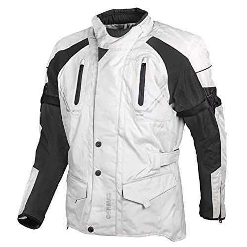 GERMAS gms Taylor Herren Motorradjacke mit Protektoren - Textil, wasserdicht, winddicht, atmungsaktiv, AirVent-System 2 Außentaschen, Taillengurt, Armweitenregulierung, Farbe:beige-schwarz, Größe:4XL