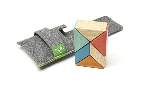 6 Piece Tegu Pocket Pouch Prism Magnetic Wooden Block Set, Sunset