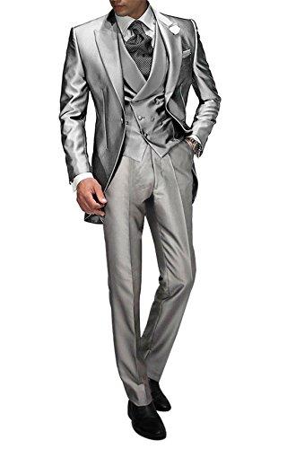 Suit Me Tailored Herren 3-Teilig Anzug Fuer Hochzeiten Party Smoking Anzug Sakko,Weste,Hose Silber M