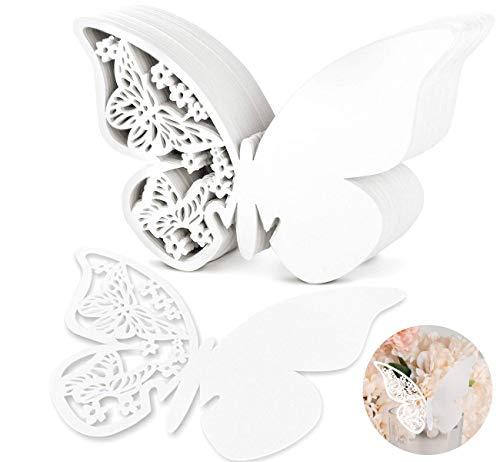 ABSOFINE 100x Schimmer Weiß Laser Cut Schmetterling Herz Tischkarten Namenskarten Glasanhänger Weinglas Hochzeitsfeier Champagnerglas Deko Gastgeschenk (Schmetterling)